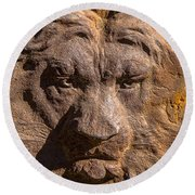 Lion Wall Round Beach Towel