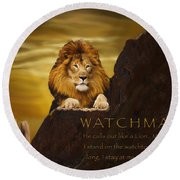 Lion Watchman Round Beach Towel