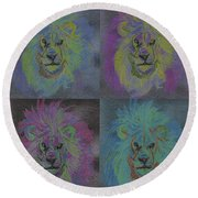 Lion X 4 Color  By Jrr Round Beach Towel