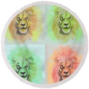 Lion X 4  Round Beach Towel