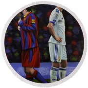 Lionel Messi And Cristiano Ronaldo Round Beach Towel