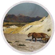 Lioness And Cubs Round Beach Towel by Jean Leon Gerome