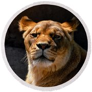 Lioness Hey Are You Looking At Me Round Beach Towel