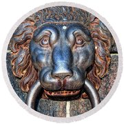 Lions Head Knocker Round Beach Towel
