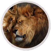 Lions In Love Round Beach Towel