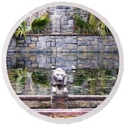Lions In The Renaissance Court Fountain 2 Round Beach Towel