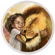 Lion's Kiss Round Beach Towel by Tamer and Cindy Elsharouni
