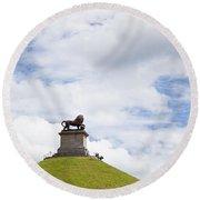 Lions Mound Memorial To The Battle Of Waterlooat Waterloo Belgium Europe Round Beach Towel by Jon Boyes