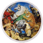 Lions Tigers And Leopard Hunt Homage To Rubens Round Beach Towel