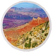 Lipan Point View On East Side Of South Rim Of Grand Canyon-arizona   Round Beach Towel