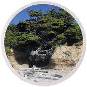 Den Of The Coastal Bigfoot Round Beach Towel