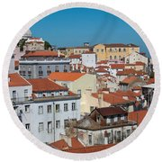 Lisbon Alfama District Round Beach Towel