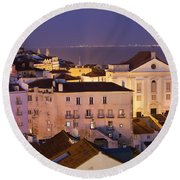 Lisbon At Night In Portugal Round Beach Towel