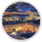 Lisbon At Night Portugal Round Beach Towel