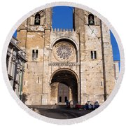 Lisbon Cathedral In Portugal Round Beach Towel