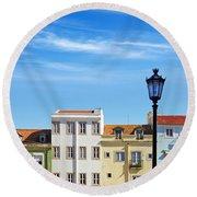 Lisbon Houses Round Beach Towel