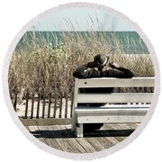 Listening To The Waves Round Beach Towel
