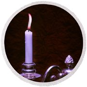 Lit Candle Round Beach Towel