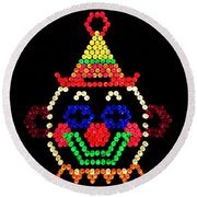 Lite Brite - The Classic Clown Round Beach Towel