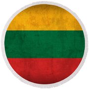 Lithuania Flag Vintage Distressed Finish Round Beach Towel