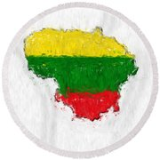 Lithuania Painted Flag Map Round Beach Towel