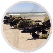 Lithuanian Special Forces Members Lie Round Beach Towel