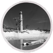 Litle Sable Light Station - Film Scan Round Beach Towel