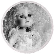 Little Angel In Black And White Round Beach Towel