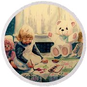 Little Artist Round Beach Towel