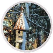 Little Birdhouse In The Woods Round Beach Towel