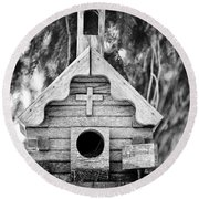 Little Birdie Church Round Beach Towel