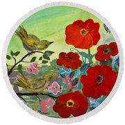 Little Birds And Poppies Round Beach Towel