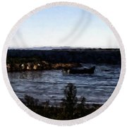 Little Black Boat Abstraction Round Beach Towel