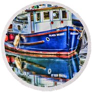 Little Blue Boat Hdr Round Beach Towel