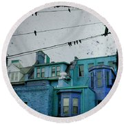 Little Blue Houses Round Beach Towel