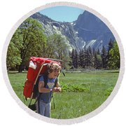 Mp-441-little Boy Big Pack  Round Beach Towel