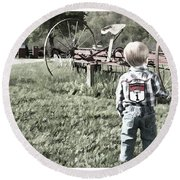 Little Boy On Farm Round Beach Towel