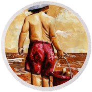 Little Boy On The Beach II Round Beach Towel