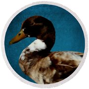 Little Brown Duck Round Beach Towel