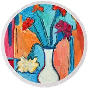 Little Carnations China Pink Flowers Round Beach Towel by Ana Maria Edulescu