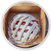 Little Cherry Pie Round Beach Towel