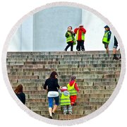 Little Children Climbing Steps Of Lutheran Cathedral Of Helsinki-finland Round Beach Towel