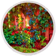 Little Country Scene Pink Flowers Climbing Leaves On Wood Fence Colors Of Quebec Art Carole Spandau Round Beach Towel