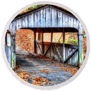 Little Covered Bridge II Round Beach Towel