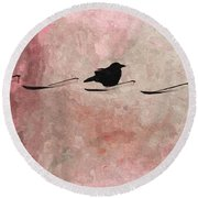 Little Crow In The Pink Round Beach Towel