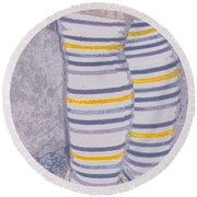 Little Feet-yellow Round Beach Towel