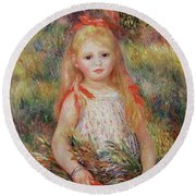Little Girl Carrying Flowers Round Beach Towel by Pierre Auguste Renoir