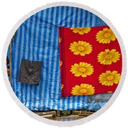 Little Girl  Round Beach Towel