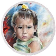 Little Girl From Tahiti Round Beach Towel