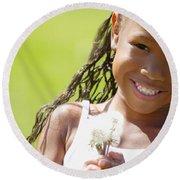 Little Girl Holding Weeds Round Beach Towel
